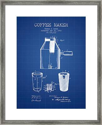 1902 Coffee Maker Patent - Blueprint Framed Print