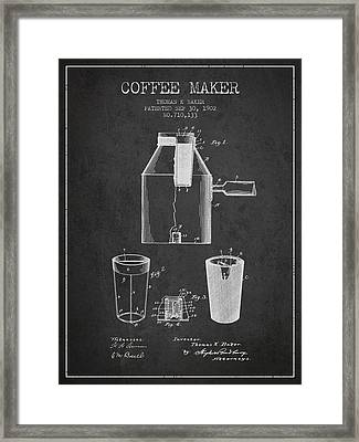 1902 Coffee Maker Patent - Charcoal Framed Print by Aged Pixel
