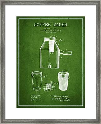 1902 Coffee Maker Patent - Green Framed Print