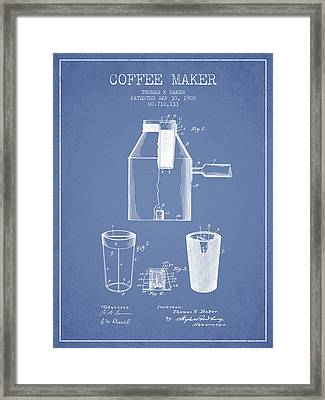 1902 Coffee Maker Patent - Light Blue Framed Print by Aged Pixel