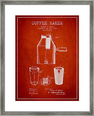 1902 Coffee Maker Patent - Red Framed Print