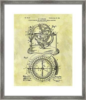 1902 Compass Patent Framed Print