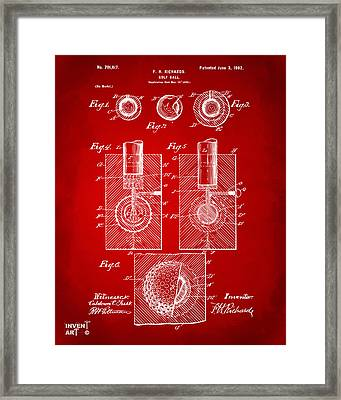 1902 Golf Ball Patent Artwork Red Framed Print