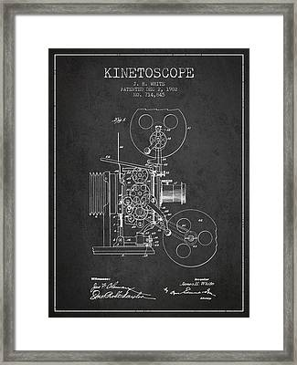 1902 Kinetoscope Patent - Charcoal Framed Print by Aged Pixel