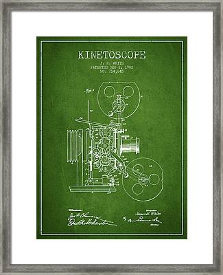 1902 Kinetoscope Patent - Green Framed Print