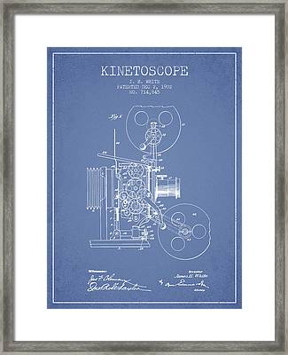 1902 Kinetoscope Patent - Light Blue Framed Print