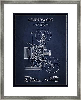 1902 Kinetoscope Patent - Navy Blue Framed Print