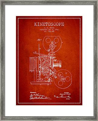 1902 Kinetoscope Patent - Red Framed Print by Aged Pixel