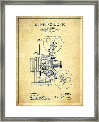 1902 Kinetoscope Patent - Vintage Framed Print by Aged Pixel