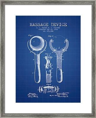 1902 Massage Device Patent - Blueprint Framed Print