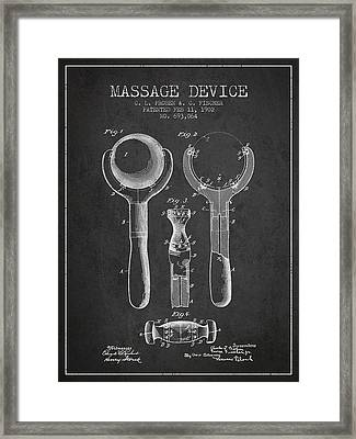 1902 Massage Device Patent - Charcoal Framed Print