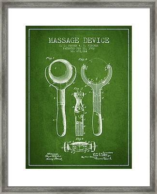 1902 Massage Device Patent - Green Framed Print