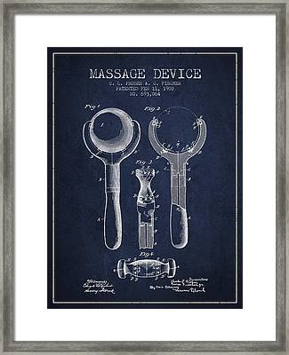 1902 Massage Device Patent - Navy Blue Framed Print