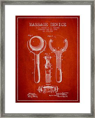 1902 Massage Device Patent - Red Framed Print