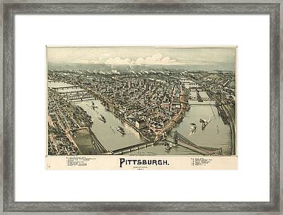 1902 Pittsburgh Map Framed Print by Dan Sproul