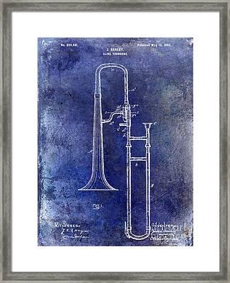 1902 Trombone Patent Blue Framed Print