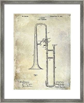 1902 Trombone Patent Framed Print by Jon Neidert