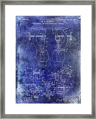 1902 Watchmakers Lathes Patent Blue Framed Print