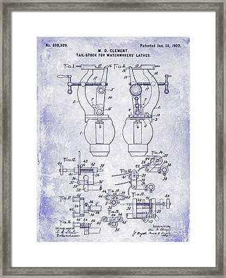 1902 Watchmakers Lathes Patent Blueprint Framed Print