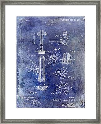 1903 Beer Tap Patent Blue Framed Print