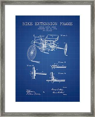 1903 Bike Extension Frame Patent - Blueprint Framed Print by Aged Pixel