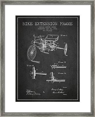 1903 Bike Extension Frame Patent - Charcoal Framed Print by Aged Pixel