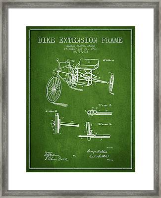 1903 Bike Extension Frame Patent - Green Framed Print by Aged Pixel