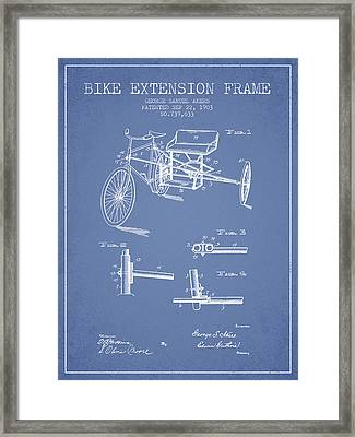 1903 Bike Extension Frame Patent - Light Blue Framed Print by Aged Pixel