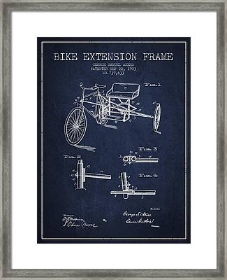1903 Bike Extension Frame Patent - Navy Blue Framed Print by Aged Pixel