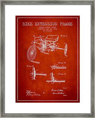 1903 Bike Extension Frame Patent - Red Framed Print