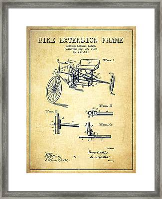 1903 Bike Extension Frame Patent - Vintage Framed Print by Aged Pixel
