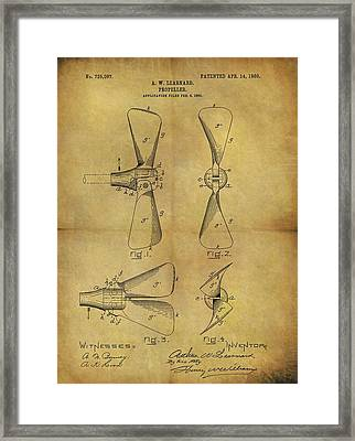 1903 Boat Propeller Patent Framed Print by Dan Sproul