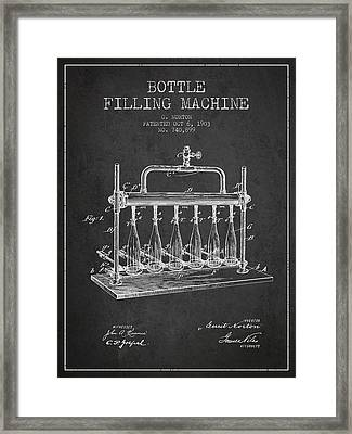 1903 Bottle Filling Machine Patent - Charcoal Framed Print by Aged Pixel