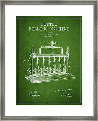 1903 Bottle Filling Machine Patent - Green Framed Print