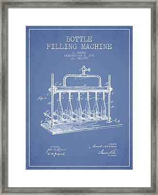 1903 Bottle Filling Machine Patent - Light Blue Framed Print