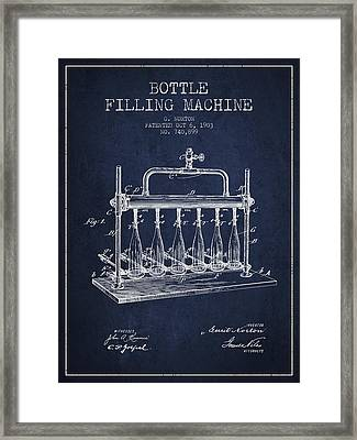 1903 Bottle Filling Machine Patent - Navy Blue Framed Print by Aged Pixel