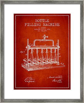 1903 Bottle Filling Machine Patent - Red Framed Print
