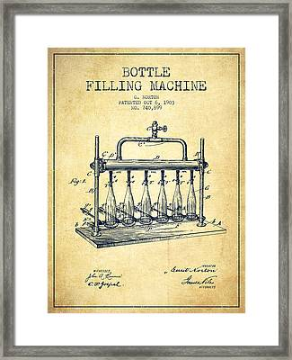 1903 Bottle Filling Machine Patent - Vintage Framed Print by Aged Pixel