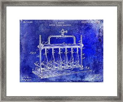 1903 Bottle Filling Patent Blue Framed Print by Jon Neidert