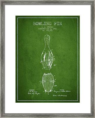 1903 Bowling Pin Patent - Green Framed Print by Aged Pixel