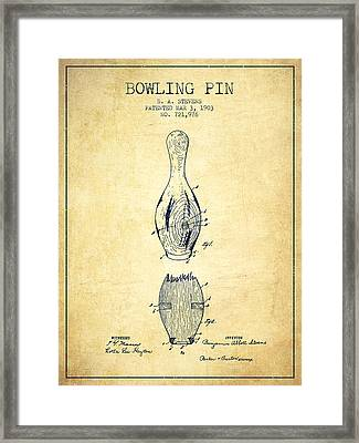 1903 Bowling Pin Patent - Vintage Framed Print