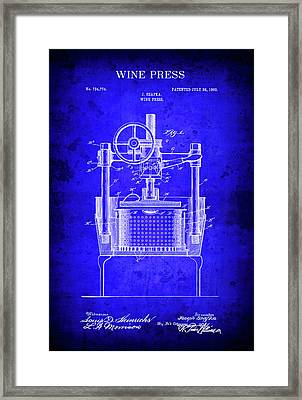 1903 Commercial Wine Press Blueprint Patent Framed Print