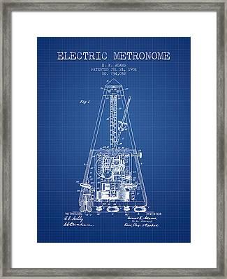 1903 Electric Metronome Patent - Blueprint Framed Print