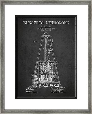 1903 Electric Metronome Patent - Charcoal Framed Print