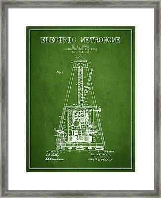 1903 Electric Metronome Patent - Green Framed Print