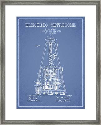 1903 Electric Metronome Patent - Light Blue Framed Print