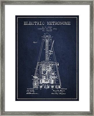 1903 Electric Metronome Patent - Navy Blue Framed Print by Aged Pixel