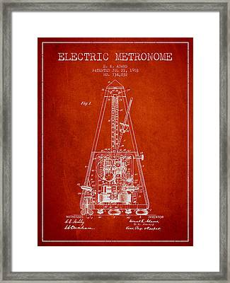 1903 Electric Metronome Patent - Red Framed Print