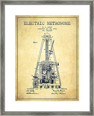 1903 Electric Metronome Patent - Vintage Framed Print
