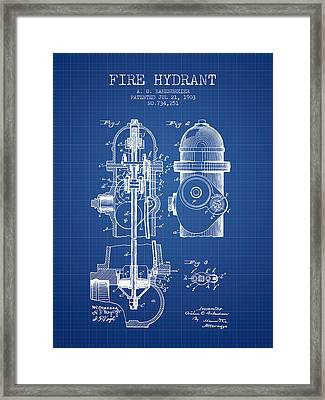 1903 Fire Hydrant Patent - Blueprint Framed Print